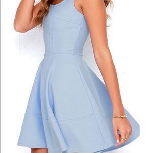 LULU's Periwinkle Blue Mesh Fit & Flare Mini Dress